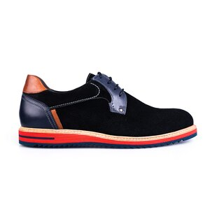 Pantofi casual barbati din piele naturala, Leofex - 591 negru velur