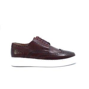 Pantofi casual barbati din piele naturala, Leofex - 601 visiniu box