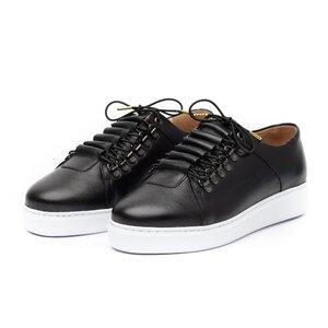 Pantofi casual barbati din piele naturala, Leofex - 602 Negru box