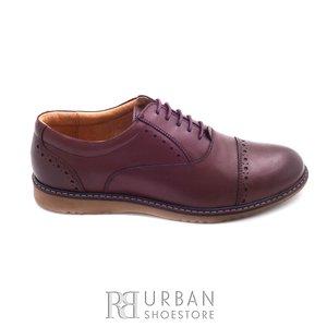 Pantofi casual barbati din piele naturala, Leofex - 842 visiniu box