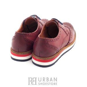 Pantofi casual barbati din piele naturala, Leofex - 846 visiniu box