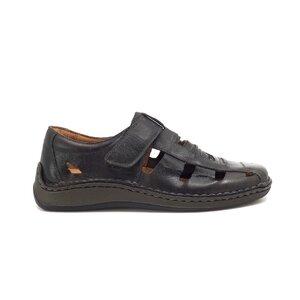 Pantofi casual barbati,perforati din piele naturala, Leofex - 596 negru box