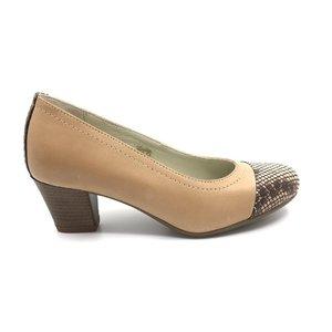 Pantofi casual cu toc dama din piele naturala - 418 taupe box cu croco