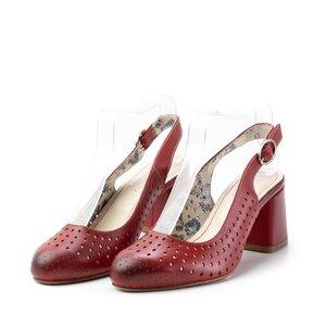 Pantofi casual cu toc dama, perforati si decupati la spate din piele naturala, Leofex, Leofex - 247 rosu box