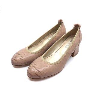 Pantofi casual cu toc dama din piele naturala, Leofex - 248-1 Taupe box