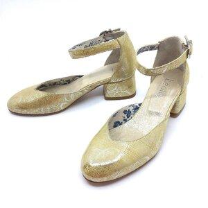 Pantofi casual cu toc dama din piele naturala, Leofex - 249 Galben serigrafiat