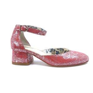 Pantofi casual cu toc dama din piele naturala, Leofex - 249 Roz serigrafiat