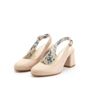 Pantofi casual cu toc dama din piele naturala, Leofex - 254 nude box