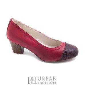 Pantofi casual cu toc dama din piele naturala,Leofex - 418 visiniu box