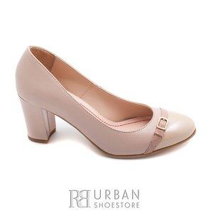 Pantofi casual cu toc din piele naturala - 0541-742 nude