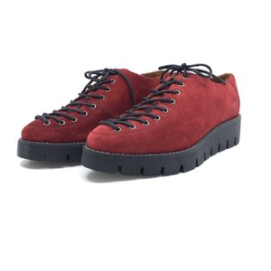 Pantofi casual dama cu siret pana in varf din piele naturala,Leofex - 194 Visiniu velur