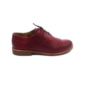 Pantofi casual dama din piele naturala - 094 Visiniu Box