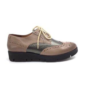 Pantofi casual dama din piele naturala,Leofex-173-1 Taupe Bronz Box
