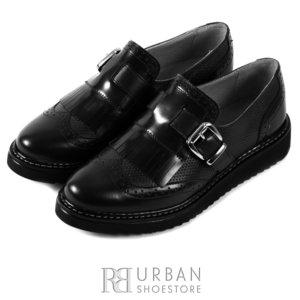Pantofi casual dama din piele naturala, Leofex - 402 negru