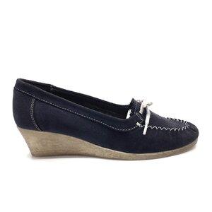 Pantofi casual dama din piele naturala,Leofex-449 Blue Velur