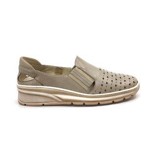 Pantofi casual dama din piele naturala perforati, Leofex - 107-1 Taupe Box