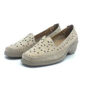 Pantofi casual dama, perforati din piele naturala - B9366 Taupe Nabuc