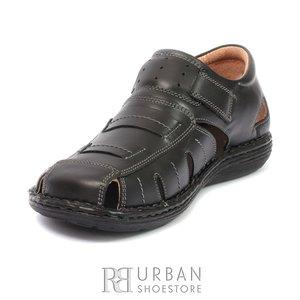 Pantofi casual de vara barbati din piele naturala,Leofex  - 928 negru