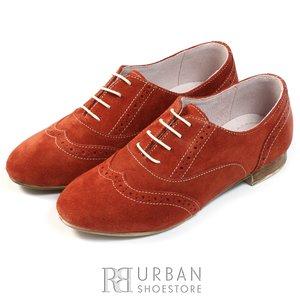 Pantofi casual din piele intoarsa - 450 caramiziu