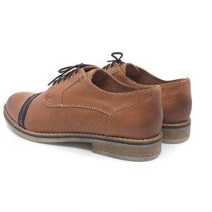 Pantofi casual dama din piele naturala,Leofex - 012 Maro - Blue
