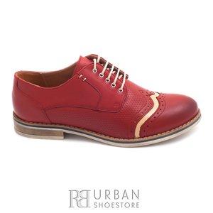 Pantofi casual dama din piele naturala,Leofex - 013 rosu+crem