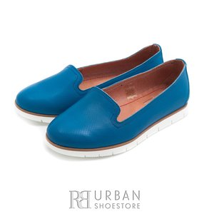 Balerini  din piele naturala Leofex - 024-B15 albastru