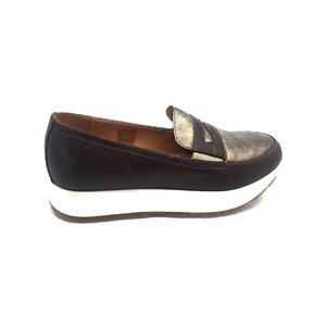 Pantofi casual dama din piele naturala,Leofex - 100 Taupe cu Auriu Box