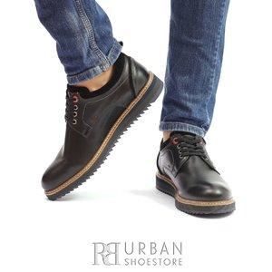 Pantofi casual din piele naturala- 969 Negru