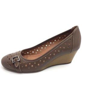 Pantofi casual dama cu platforma si perforati din piele naturala,Leofex - 275 Taupe Box