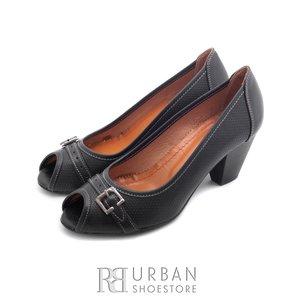 Pantofi casual cu toc dama de piele naturala, Leofex - 276-1 negru