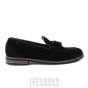 Pantofi casual barbati din piele naturala cu ciucuri, Leofex - 922 Negru Velur