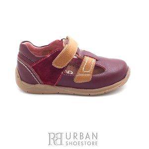 Pantofi copii  din piele naturala – 120-2 bordo camel box