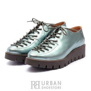 Pantofi casual dama cu siret pana in varf din piele naturala,Leofex- 194   Albastru Sidefat