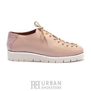 Pantofi casual dama cu siret pana in varf din piele naturala,Leofex- 194-1 Roz Flori Sidefat Presat