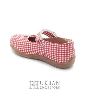 Pantofi din piele naturala – 129-2 rosu patratele albe