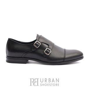 Pantofi eleganti barbati cu catarame din piele naturala, Leofex - 933 Negru Box