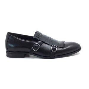 Pantofi  eleganti barbati, cu franjuri din piele naturala, Leofex - 586 negru box
