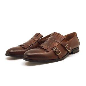 Pantofi  eleganti barbati, cu franjuri din piele naturala, Leofex - 586 cognac box