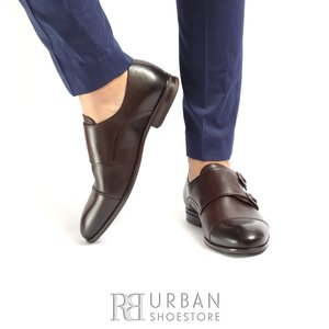 Pantofi eleganti barbati din piele naturala cu catarame,Leofex - 933 Mogano box