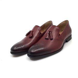 Pantofi eleganti barbati din piele naturala cu ciucuri, Leofex- 899 Visiniu Box
