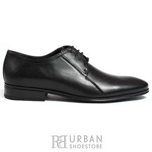 Pantofi eleganti barbati din piele naturala,Leofex - 743 negru box perforat