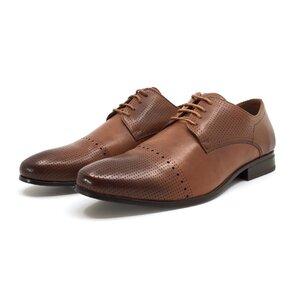 Pantofi eleganti barbati din piele naturala, Leofex - 821 cognac box