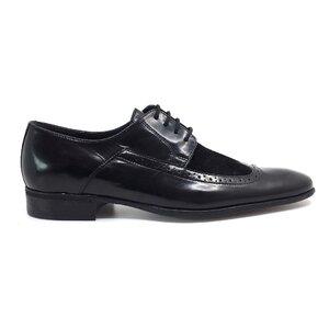 Pantofi  eleganti barbati din piele naturala, Leofex - Mostra Calin negru florantic+velur