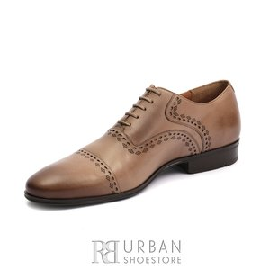Pantofi eleganti barbati, Oxford din piele naturala, Leofex- 748 Taupe