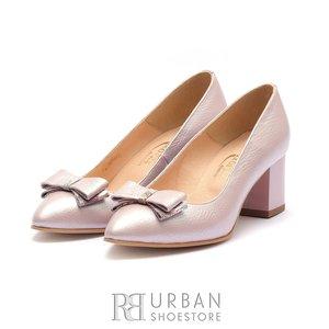 Pantofi eleganti dama cu varf ascutit din piele naturala Leofex - 821 Roz Box Sidefat