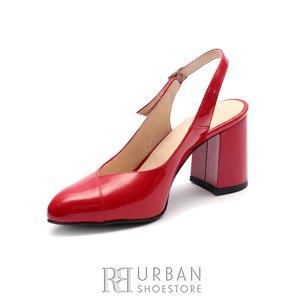 Pantofi eleganti dama decupati din piele naturala - 0490-14 Rosu Lac