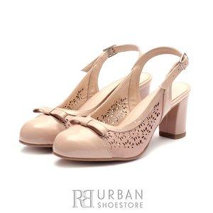 Pantofi eleganti dama decupati din piele naturala   - 0499-10 Nude Lac