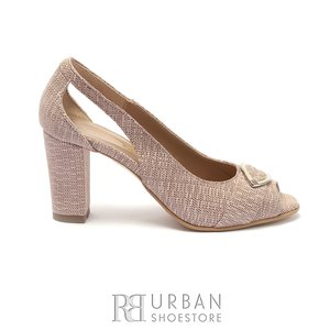 Pantofi eleganti dama, decupati din piele naturala cu brosa decorativa- 1964 Bej Pepit