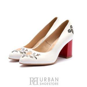Pantofi eleganti dama din piele naturala  - 0490-9 Alb cu Rosu