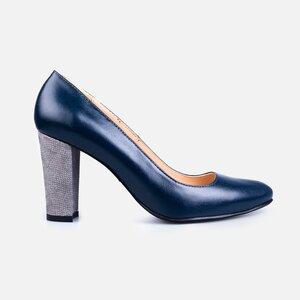 Pantofi  eleganti dama din piele naturala - 170 Albastru inchis + gri box